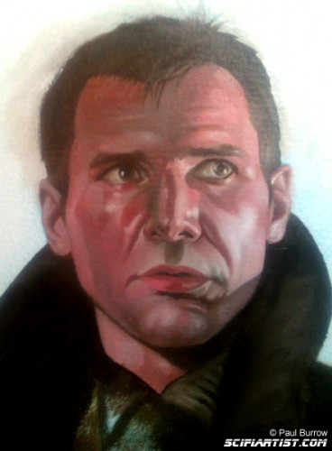 Rick Deckard oil painting work in progress
