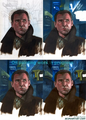 Deckard oil painting work in progress