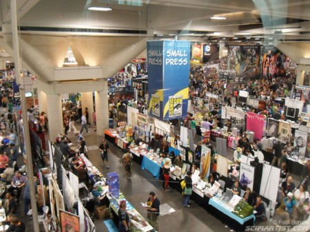 View from above at the small press tables