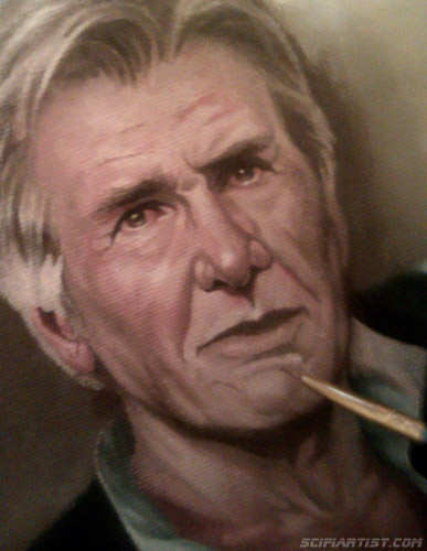 Han Solo Episode 7 oil painting work in progress