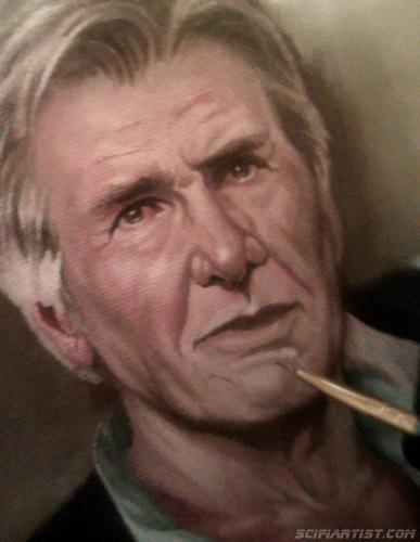 Han Solo Episode 7 oil painting work in progress