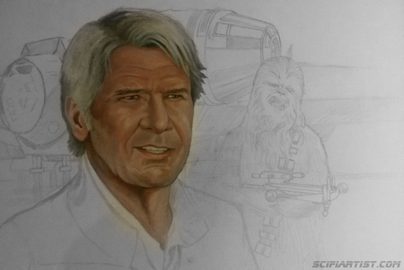Han & Chewie The Force Awakens painting