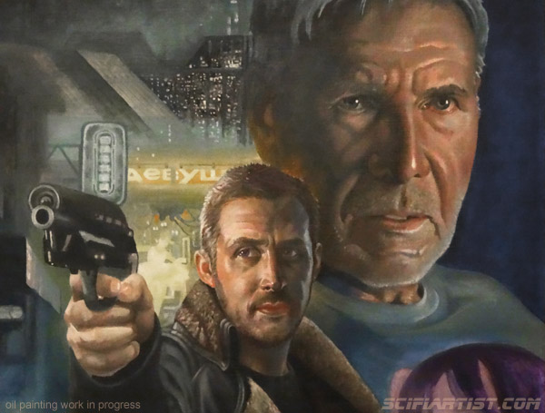 Blade Runner 2049 oil painting work in progress