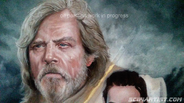 The Last Jedi oil painting work in progress