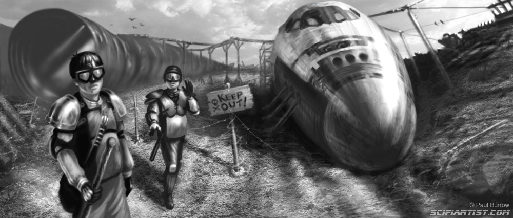 Space Shuttle Junkyard concept art by Paul Burrow