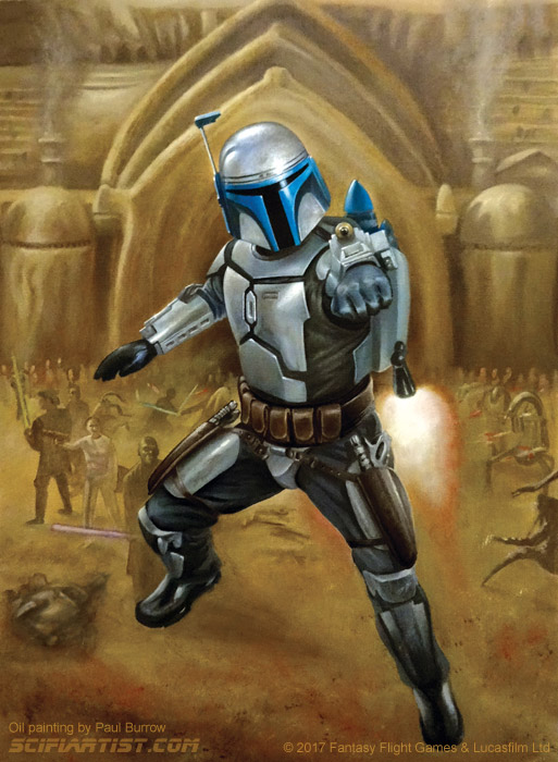 Jango Fett - Aim Oil Painting by Paul Burrow